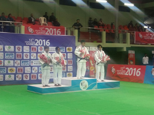 Medal Ceremony of below 48Kg, South Asia Games 2016, Shillong